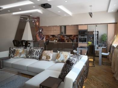 Дизайн интерьера гостиной студии