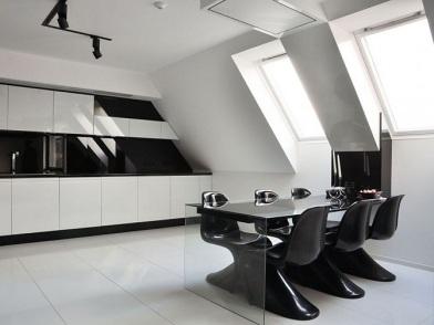 черно белый дизайн интерьера