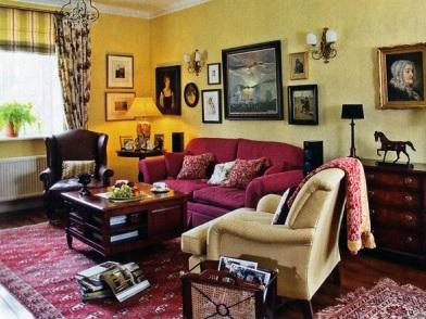 Английский дизайн интерьера с мягкой мебелью