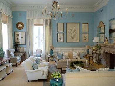 Английский дизайн интерьера в голубом цвете