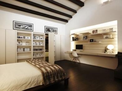 Дизайн интерьера с темным полом в спальне