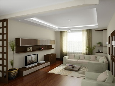 Дизайн интерьера с темным полом и светлой мебелью