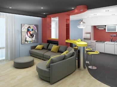 Дизайн интерьера совмещенной кухни с барной стойкой