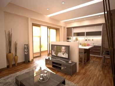 Дизайн интерьера совмещенной кухни с телевизором