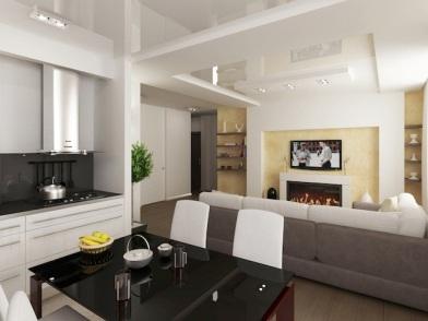 Дизайн интерьера совмещенной кухни с диваном
