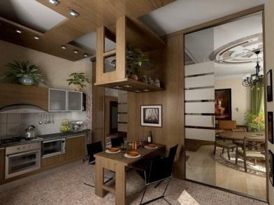 Дизайн интерьера совмещенной кухни в коричневом цвете