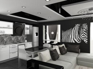 Дизайн интерьера совмещенной кухни в черно-белом цвете