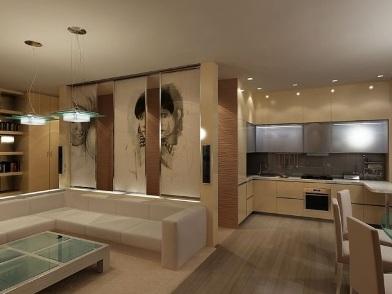 Дизайн интерьера совмещенной кухни в современном стиле