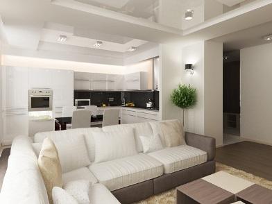 Дизайн интерьера совмещенной кухни в стиле хай-тек
