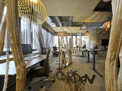 разработка дизайна интерьера офиса с элементами дерева
