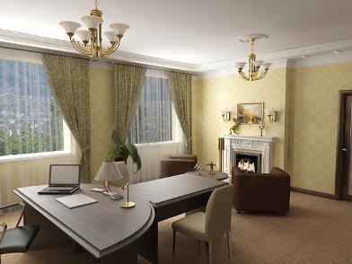 дизайн интерьера кабинета в офисе у директора