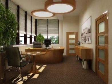 дизайн интерьера кабинета в офисе с строгом стиле