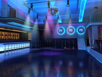 Дизайн интерьера ночного клуба в синем цвете
