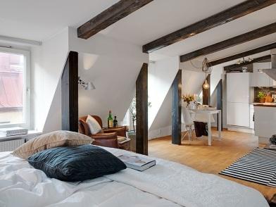 Дизайн интерьера с балками в спальне