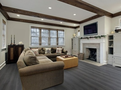 Дизайн интерьера с балками в гостиной с камином