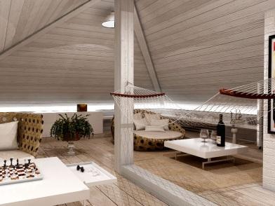 Дизайн интерьера мансарды деревянного дома в светлом стиле