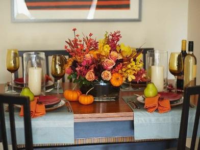 Осенний дизайн интерьера в столовой