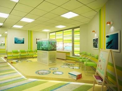 Дизайна интерьера детского центра с аквариумом
