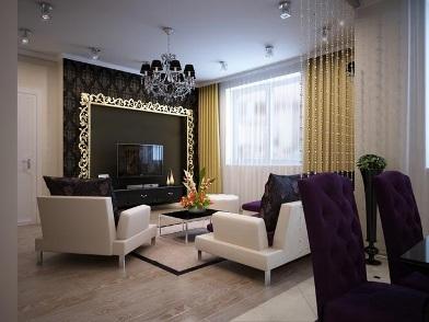 Дизайн интерьера в стиле ар деко с телевизором
