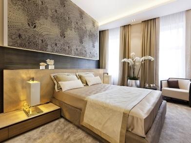 Дизайн интерьера в стиле ар деко в бежевом цвете