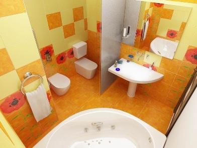 оранжевый Дизайн интерьера совмещенного санузла