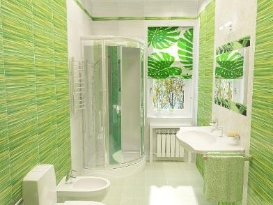 зеленый Дизайн интерьера совмещенного санузла