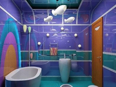 синий Дизайн интерьера совмещенного санузла