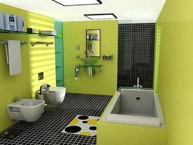 Дизайн интерьера совмещенного санузла в салатовом цвете