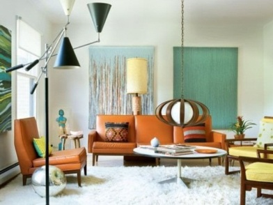 Дизайн интерьера в стиле ретро гостиной