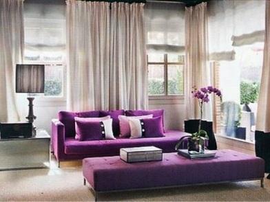 Фиолетовый цвет в дизайне интерьера в гостиной