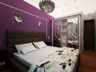 Фиолетовый цвет в дизайне интерьера с кроватью
