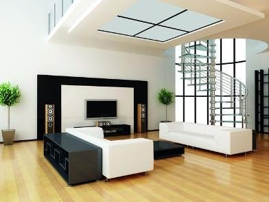 дизайн интерьера гостиной с лестницей в светлом стиле