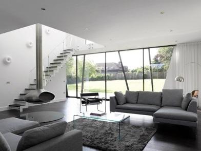 дизайн интерьера гостиной с лестницей в стиле хай тек