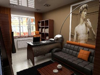 дизайн интерьера для молодого человека в кабинете