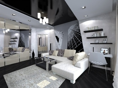 дизайн интерьера для молодого человека в гостиной