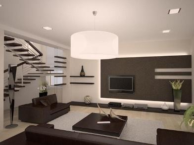 Минималистический дизайн интерьера гостиной