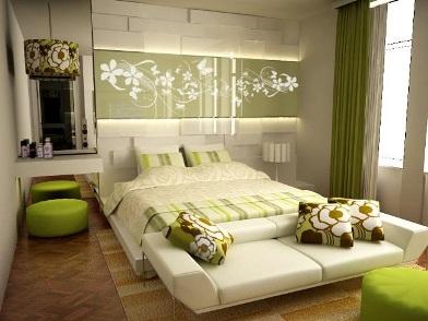 дизайн интерьера в зеленых тонах в спальне