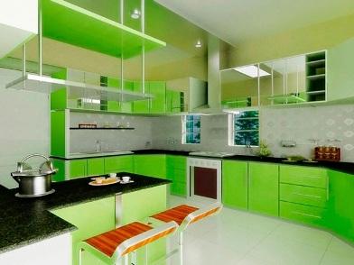 дизайн интерьера в зеленых тонах на кухне