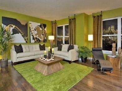 дизайн интерьера в зеленых тонах в гостиной