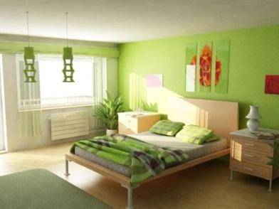 дизайн интерьера в зеленых тонах в японском стиле