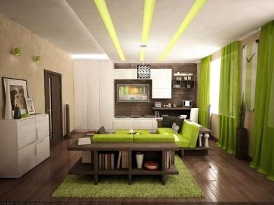 дизайн интерьера в зеленых тонах в студии