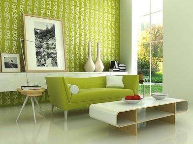 дизайн интерьера в зеленых тонах в комнате отдыха