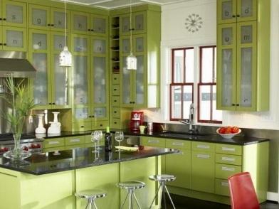 дизайн интерьера в зеленых тонах в доме