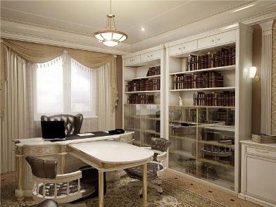 Дизайн интерьера кабинета в квартире в светлом тоне