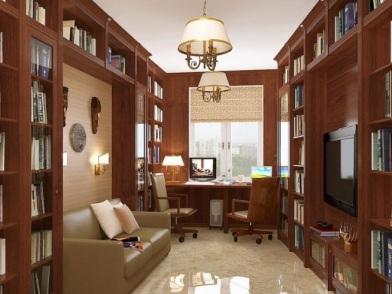 Дизайн интерьера кабинета в квартире в коричневом цвете
