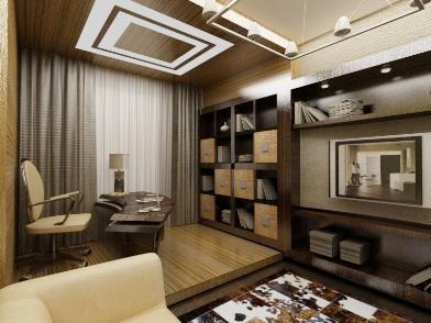 Дизайн интерьера кабинета в квартире в сером цвете
