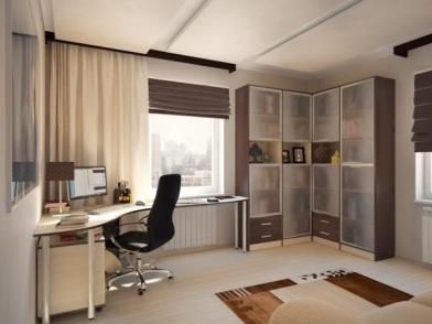 Дизайн интерьера кабинета в квартире с жалюзи