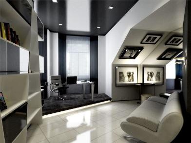 Дизайн интерьера кабинета в квартире в мансарде