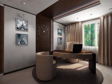 Дизайн интерьера кабинета в квартире новостройки