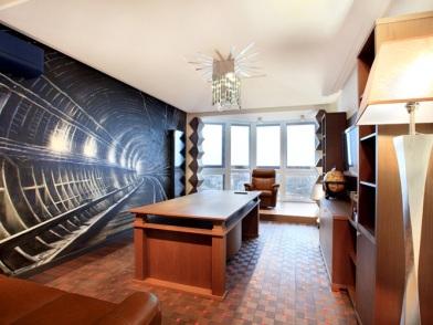 Дизайн интерьера кабинета в квартире пентаусе